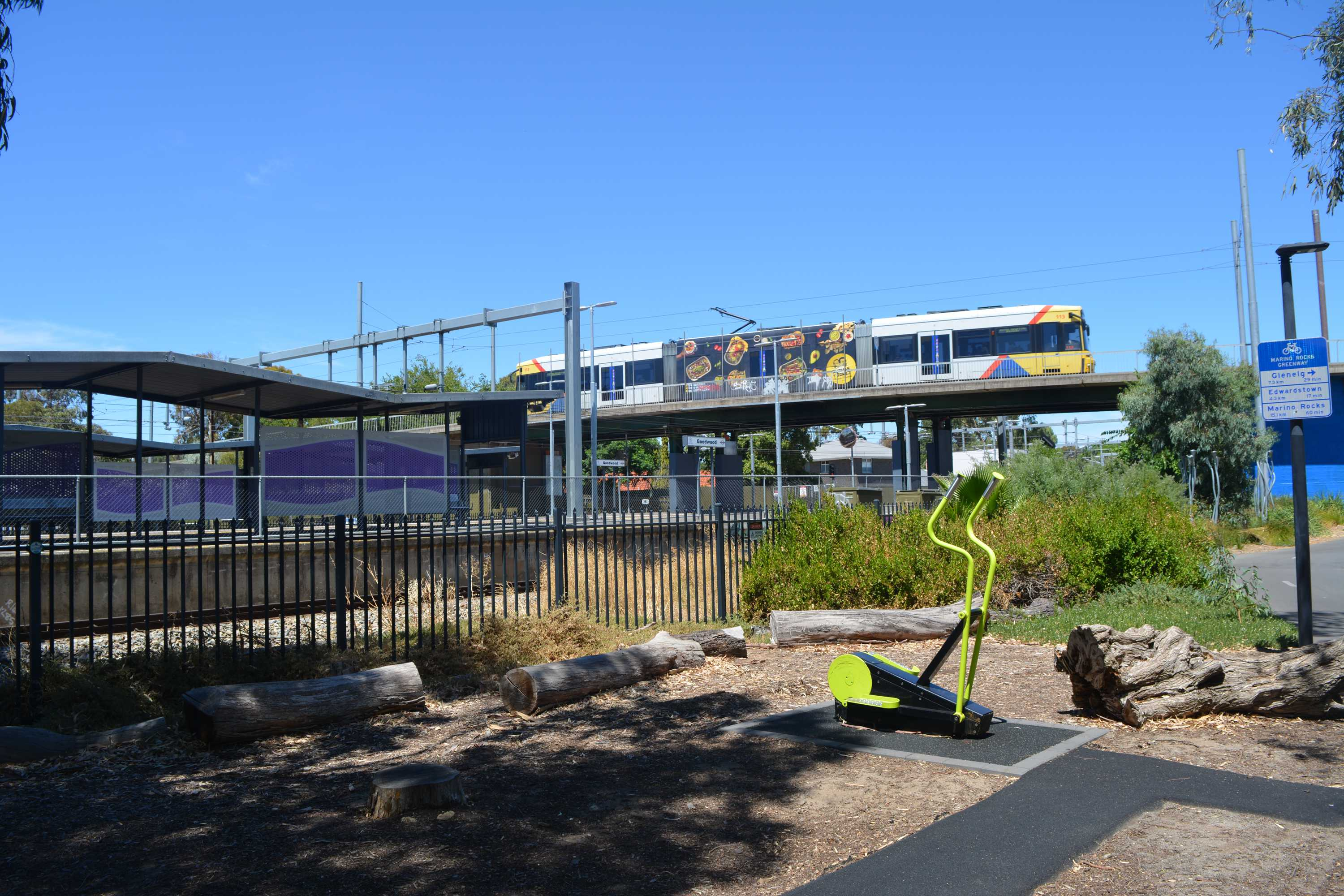 Tram overpass and train station from Forestville